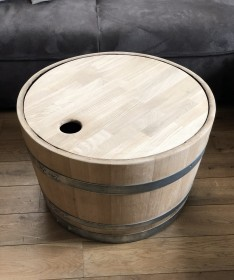 Weinfass Couchtisch mit Holzdeckel natur