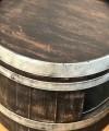 Weinfass Couchtisch mit Einlegeboden Shabby Black