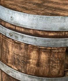 Weinfass Couchtisch mit Einlegeboden Whiskyfass-Optik