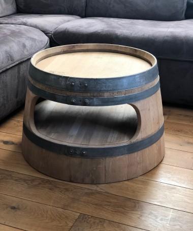Weinfass Couchtisch mit Einlegeboden und runden Ecken, natur