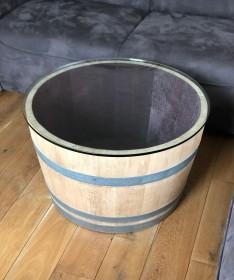 Weinfass Couchtisch mit kleiner (70er) Glasplatte