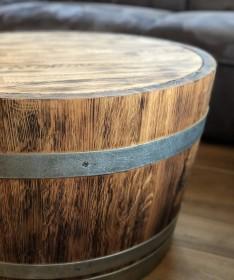 Weinfass Couchtisch mit Holzdeckel rustikal
