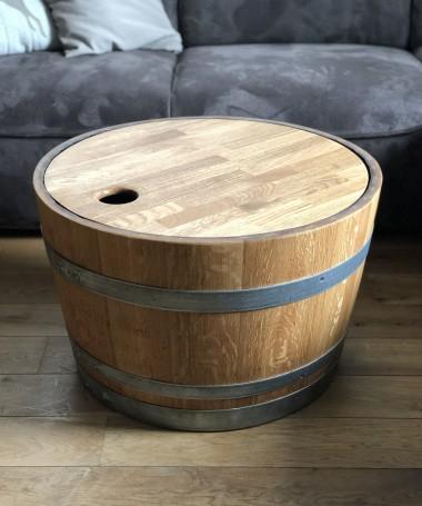 Weinfass Couchtisch mit Holzdeckel geölt