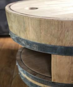 Weinfass Couchtisch mit Holzdeckel und Einlegeboden natur
