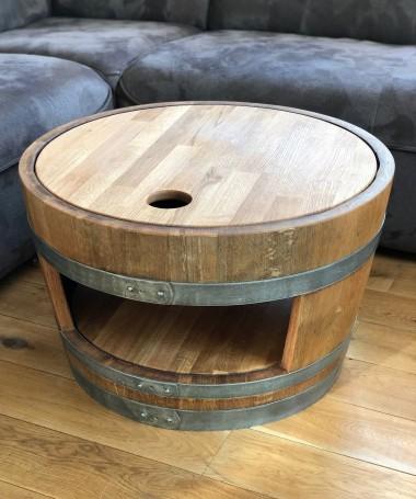 Weinfass Couchtisch mit Holzdeckel und Einlegeboden geölt
