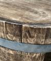 Weinfass Couchtisch mit Holzdeckel und Einlegeboden Whiskyfass-Optik