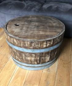 Weinfass Couchtisch mit Holzdeckel Whiskyfass Optik