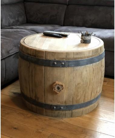 Bauchiger Weinfass Couchtisch mit Holzdeckel natur