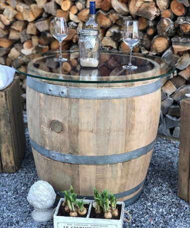 3/4 Weinfass mit 70er Glasplatte, naturbelassen