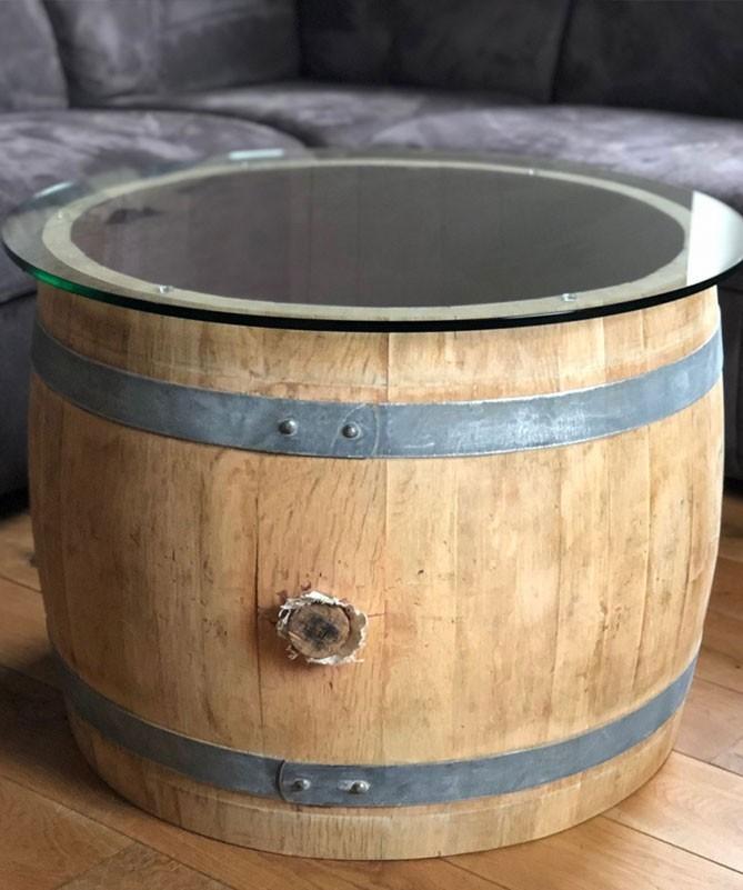 Weinfass Couchtisch bauchig mit (70er) Glasplatte