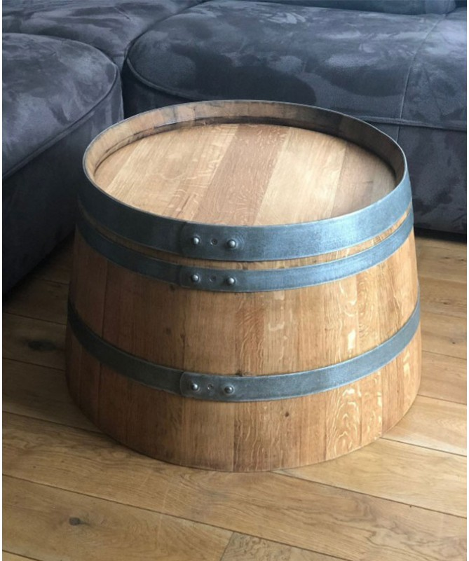Weinfass Couchtisch geölt - halbes Weinfass