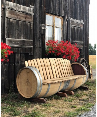 Weinfass 3-Sitzerbank aus Eichenholz